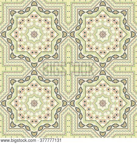 Subtle Moroccan Zellige Tile Seamless Ornament. Ethnic Structure Vector Patchwork. Bedcover Print De