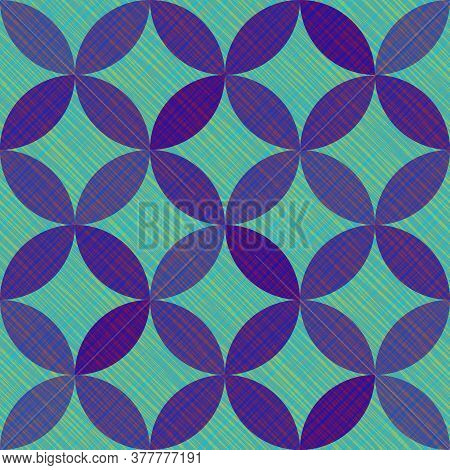 Interlacing Circles Parts Artistic Seamless Vector Pattern. Guatrefoil Flower Turquoise Medieval End