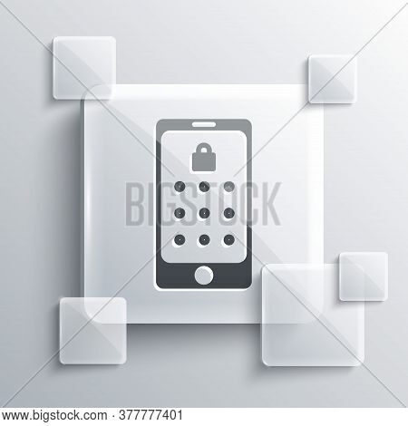 Grey Mobile Phone And Graphic Password Protection Icon Isolated On Grey Background. Security, Person