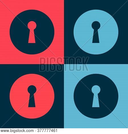 Pop Art Keyhole Icon Isolated On Color Background. Key Of Success Solution. Keyhole Express The Conc