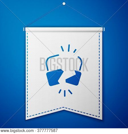 Blue Broken Or Cracked Lock Icon Isolated On Blue Background. Unlock Sign. White Pennant Template. V