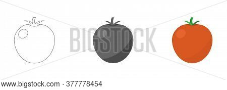 Tomato Icon In Flat Style. Isolated Object. Tomato Logo. Vegetable From The Farm. Organic Food