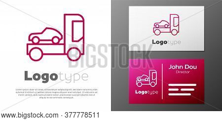 Logotype Line Car Transporter Truck For Transportation Of Car Icon Isolated On White Background. Log