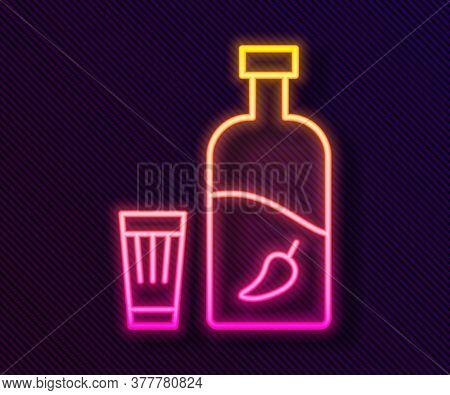 Glowing Neon Line Vodka With Pepper And Glass Icon Isolated On Black Background. Ukrainian National