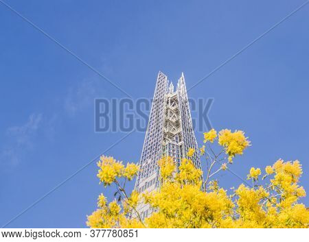 July 2020. London. The Shard, Framed By Yellow Flowers In London England