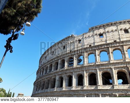 Flavian Amphitheater Best Known Symbol Of The Eternal City, Rome, Italy.