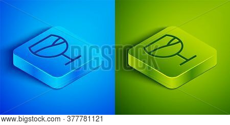 Isometric Line Wine Glass Icon Isolated On Blue And Green Background. Wineglass Sign. Square Button.