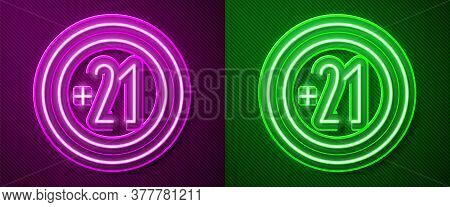 Glowing Neon Line Alcohol 21 Plus Icon Isolated On Purple And Green Background. Prohibiting Alcohol