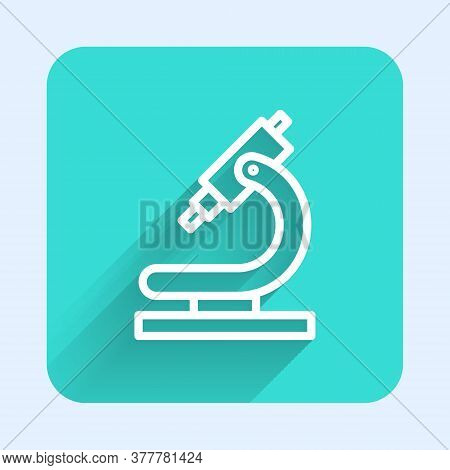 White Line Microscope Icon Isolated With Long Shadow. Chemistry, Pharmaceutical Instrument, Microbio