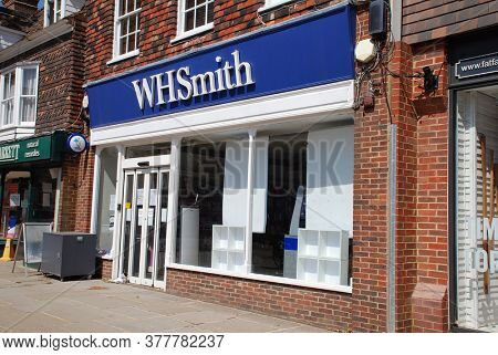 TENTERDEN, ENGLAND - MAY 27, 2020: A branch of newsagent and stationery chain W.H. Smith. Founded in 1792, the company currently has 1,700 stores.