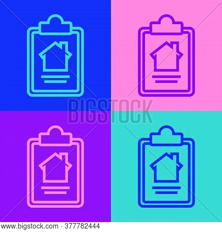 Pop Art Line House Contract Icon Isolated On Color Background. Contract Creation Service, Document F