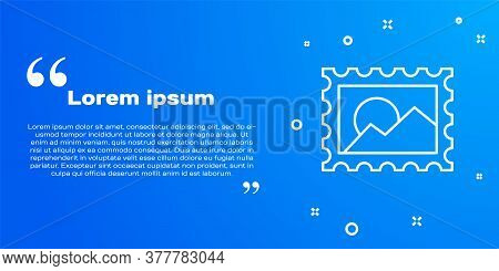 White Line Postal Stamp Icon Isolated On Blue Background. Vector Illustration