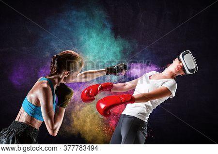Young woman boxing. . Mixed media