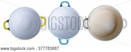Set Of Empty Soup Bowl Plates On White Background Isolation, Top View