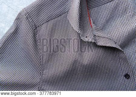 Close Up Of Men's Shirt. Copy Space.