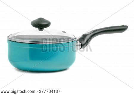 Blue Pan Of A Ladle With Lid On White Background Isolation