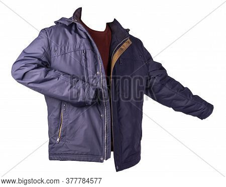 Dark Blue Jacket And Dark Red Sweater Isolated On White Background.bologna Jacket And Wool Sweater