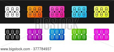Set Pills In Blister Pack Icon Isolated On Black And White Background. Medical Drug Package For Tabl
