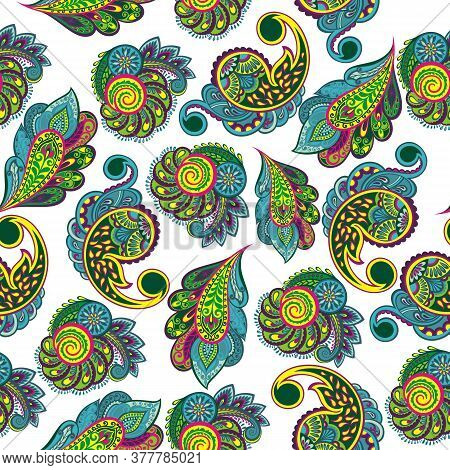 Seamless Paisley Pattern. Floral Batik. Wallpaper With Paisley And Stylized Floral Elements