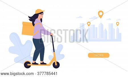 The Girl Courier Delivers The Parcel On An Electric Scooter.