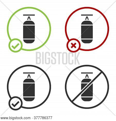 Black Punching Bag Icon Isolated On White Background. Circle Button. Vector Illustration