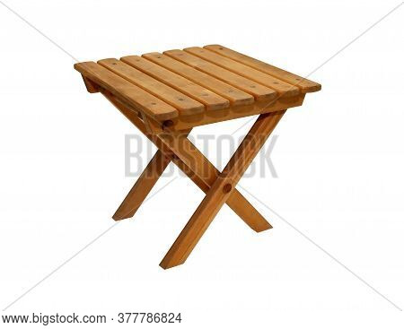Small Wooden Stool Isolated On White Background With Clipping Path