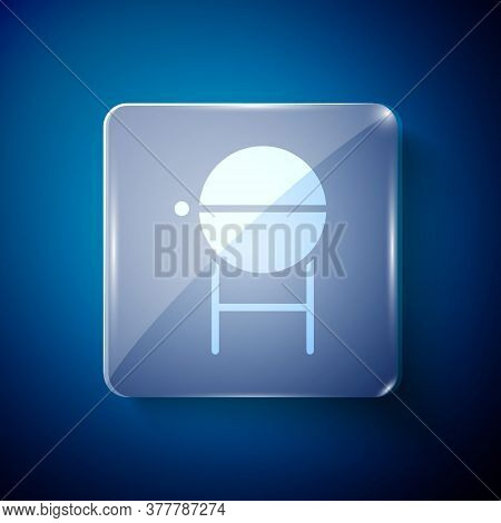 White Barbecue Grill Icon Isolated On Blue Background. Bbq Grill Party. Square Glass Panels. Vector