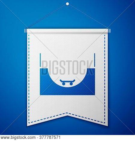 Blue Skate Park Icon Isolated On Blue Background. Set Of Ramp, Roller, Stairs For A Skatepark. Extre