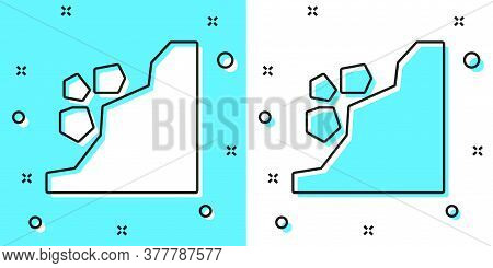 Black Line Landslide Icon Isolated On Green And White Background. Stones Fall From The Rock. Boulder