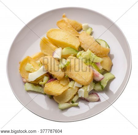 Potato Wedges With Vegetables On A Plate Isolated On White Background. Junk Food . Rustic Food. Pota