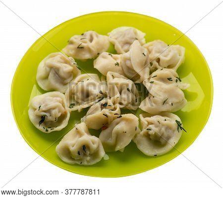 Dumplings On A Plate Isolated On White Background .boiled Dumplings.meat Dumplings Top View .pelmeni