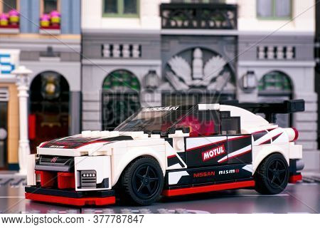 Tambov, Russian Federation - June 25, 2020 Lego Nissan Gt-r Nismo Car By Lego Speed Champions In The
