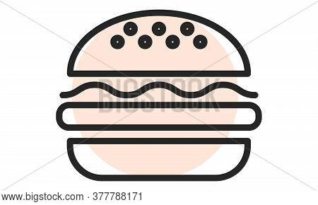 Burger Icon. Fastfood Outline Web Icon. Vector Illustration