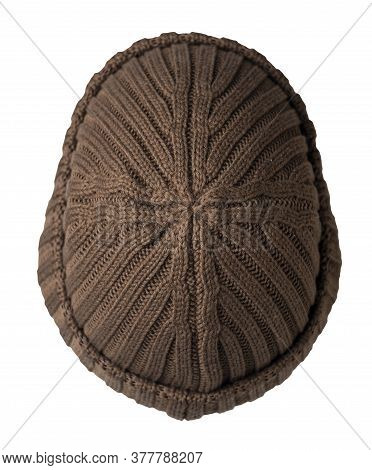 Docker Knitted Brown Hat Isolated On White Background. Fashionable Rapper Hat Top View. Hat Fisherma