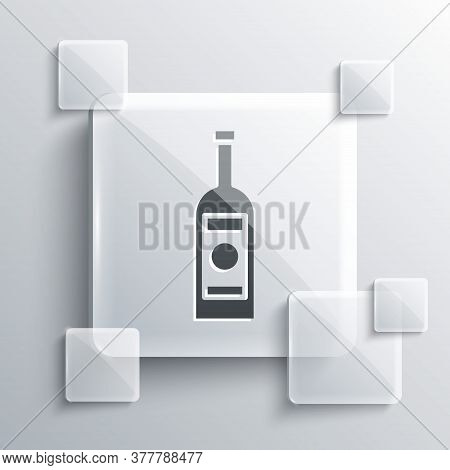 Grey Glass Bottle Of Vodka Icon Isolated On Grey Background. Square Glass Panels. Vector Illustratio