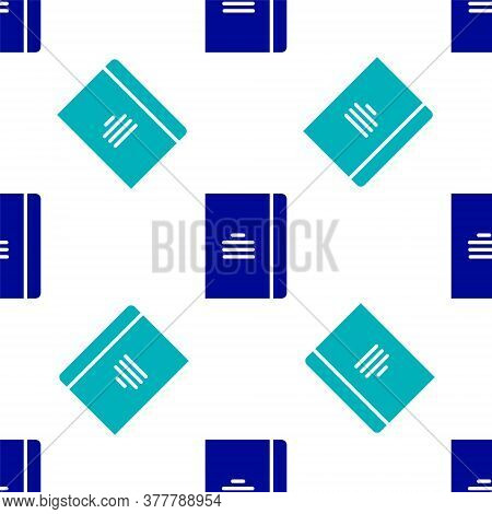 Blue Notebook Icon Isolated Seamless Pattern On White Background. Spiral Notepad Icon. School Notebo