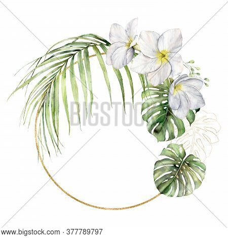 Watercolor Golden Frame With Plumeria And Palm Leaves. Hand Painted Tropical Flowers And Jungle Gree