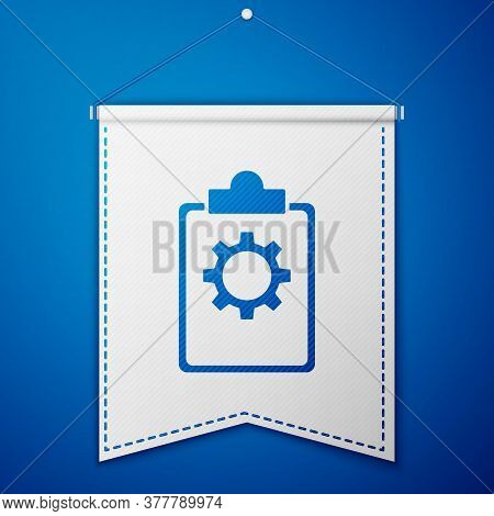 Blue Checklist Clipboard With 24 Hours Service Icon Isolated On Blue Background. White Pennant Templ