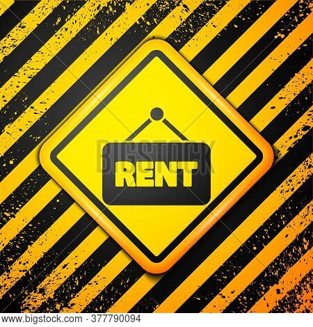 Black Hanging Sign With Text Rent Icon Isolated On Yellow Background. Signboard With Text For Rent.