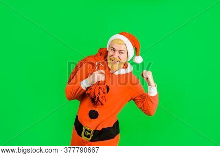 Santa Claus With New Year Gift. New Year Gifts. New Year. Merry Christmas. Santa Claus Costume. Sant