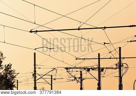 Tram  Cables At Sundown.tramway Overhead Traction Photo. Electric, Transport Wires Photography.  Tra