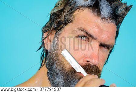 Man With Razor. Man Shave Beard In Shower. Man With Foam On Beard. Head Washing. Bearded Man Shave B