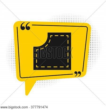 Black Sewing Pattern Icon Isolated On White Background. Markings For Sewing. Yellow Speech Bubble Sy