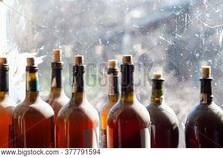 Bottles Of Homemade Wine Or Vinegar With Corks