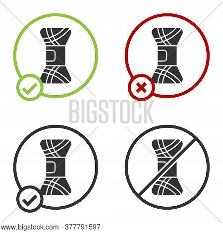Black Yarn Icon Isolated On White Background. Label For Hand Made, Knitting Or Tailor Shop. Circle B