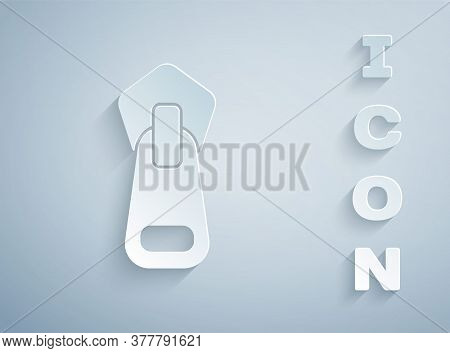 Paper Cut Zipper Icon Isolated On Grey Background. Paper Art Style. Vector Illustration