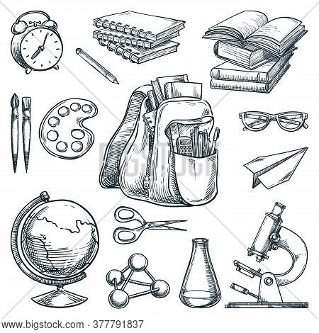 School Supplies And Education Design Elements, Isolated On White Background. Hand Drawn Sketch Vecto