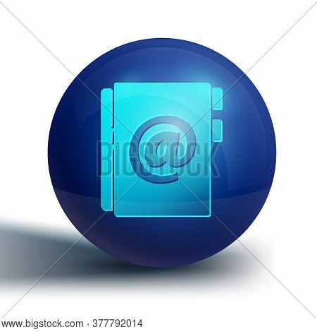 Blue Address Book Icon Isolated On White Background. Notebook, Address, Contact, Directory, Phone, T