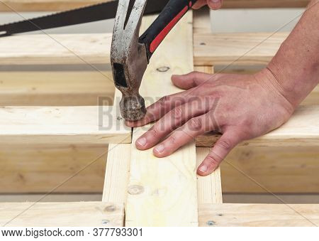 Man Makes A Wooden Bed With His Own Hands, Hand Made