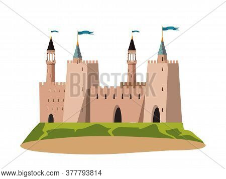 Stone Medieval Castle Facade Isolated On White. Ancient History And Architecture With Fortified Wall